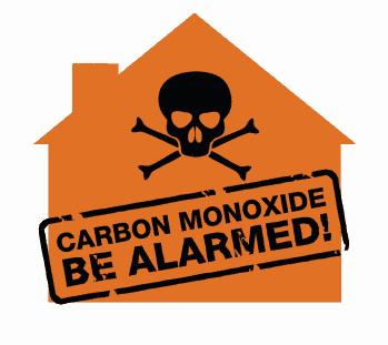 An orange sign warning for the dangers of carbon monoxide