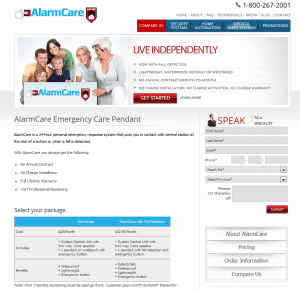 The homepage of AlarmCare