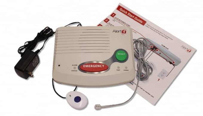 Fall button with Alert1 medical alert system