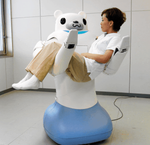 Bear-faced robot helping japanese people