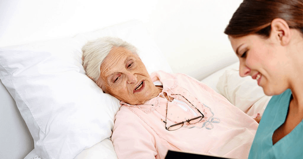 Caregiver giving support to a senior