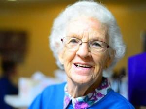 Senior in a day care center