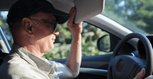 An elderly experiencing problems while driving