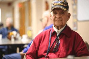 Elderly veteran soldier
