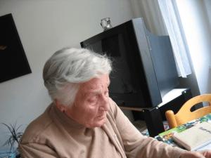 Elderly woman in her home