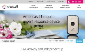 GreatCall.com website about Splash medical alert buttona