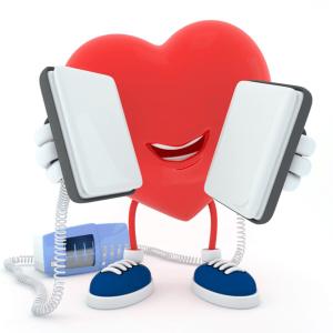 A heart symbol with a pair of defibrillators