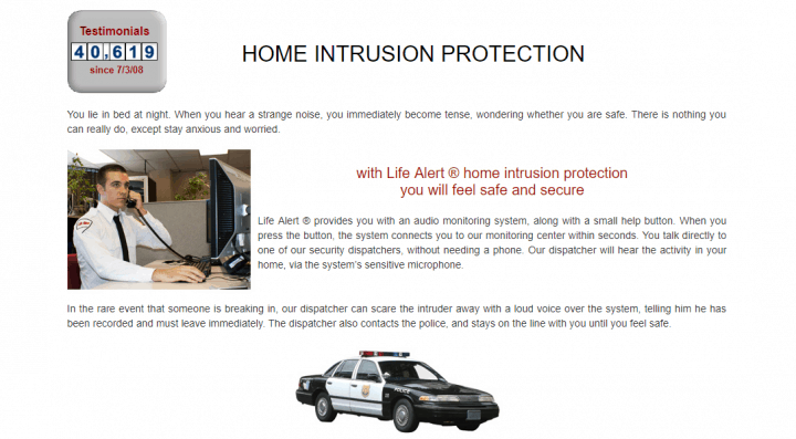 Home intrusion protection with Life Alert