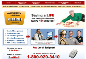 The homepage of LifeAlert's main site