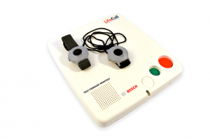 The white console with two help buttonsof the Standard medical alert system of LifeCall