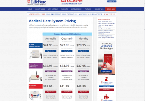 LifeFone's informative pricing table