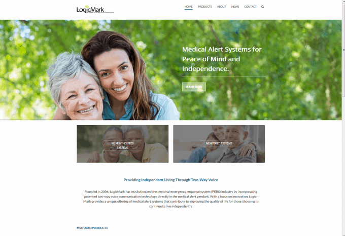 The homepage of LogicMark