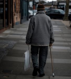 Elderly wandering on street