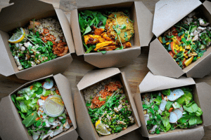 Meal delivered from a local kitchen in nice boxes