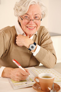 Senior woman wearing medical alert bracelet