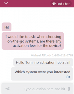 Medical Guardian customer support chat window