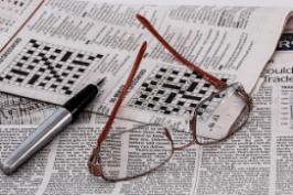 Newspaper with crosswords
