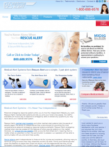 The homepage of Rescue Alert