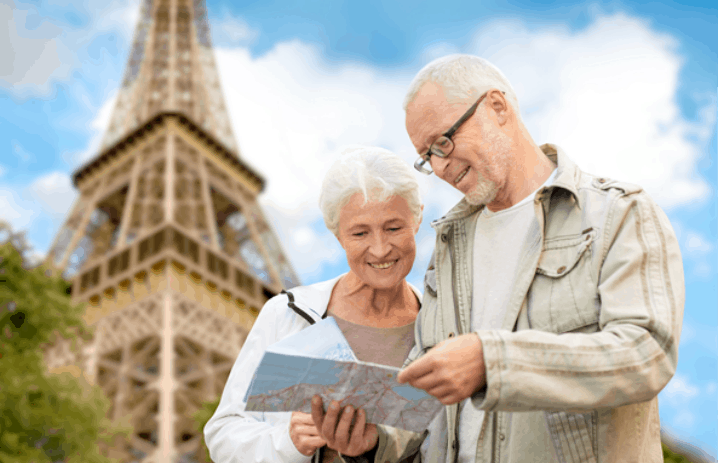 Senior couple visiting Paris in France