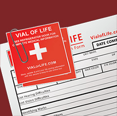 An blank vial of life document with a logo