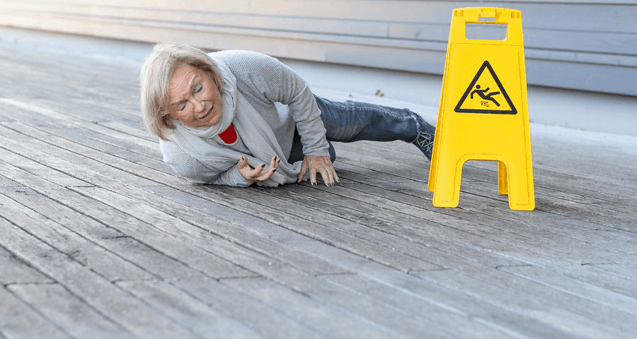 Senior slipping at the hallway