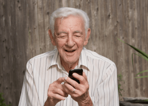 A senior using a smartphone