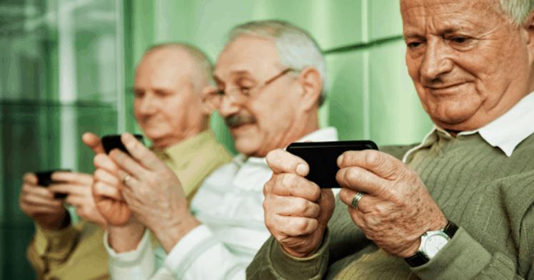 Seniors using smartphones