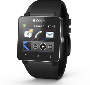 A black smartwatch screen, made by Sony