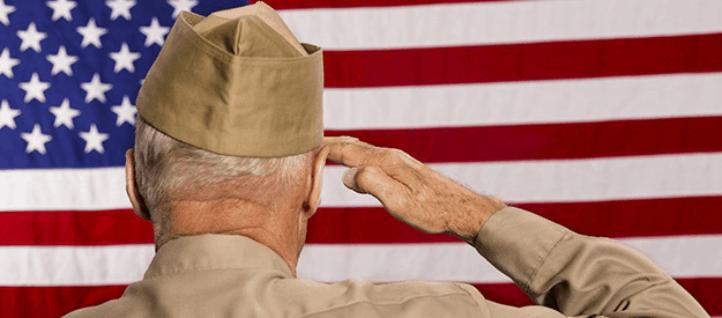 Veteran soldier saluting