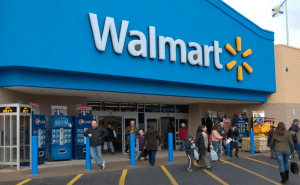 A busy walmart front full of people